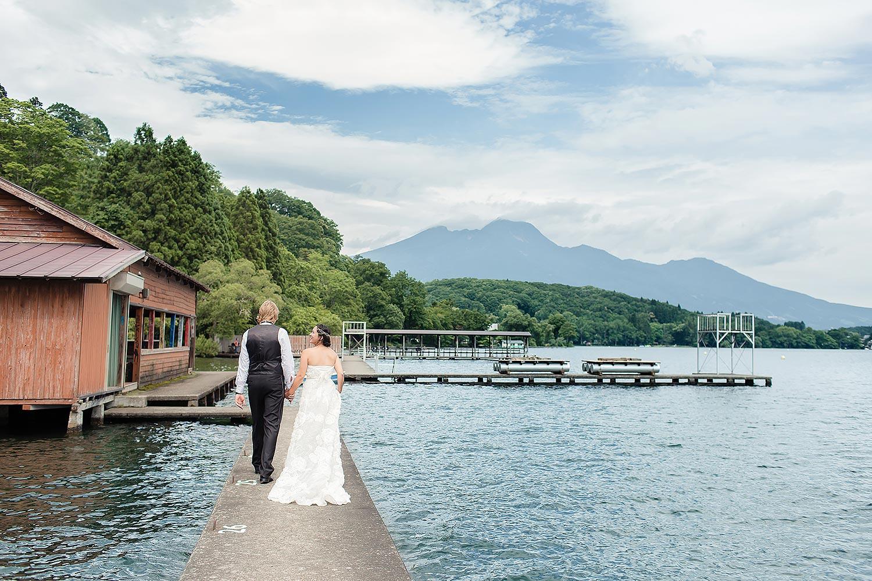 Japan wedding on a lake