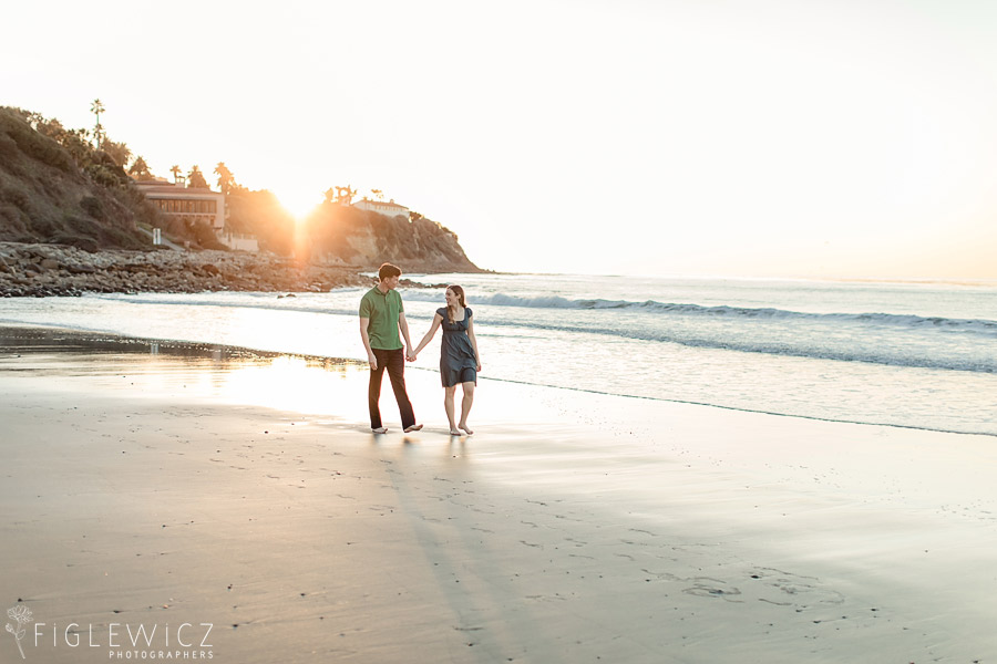 Sunset engagement at Torrance Beach