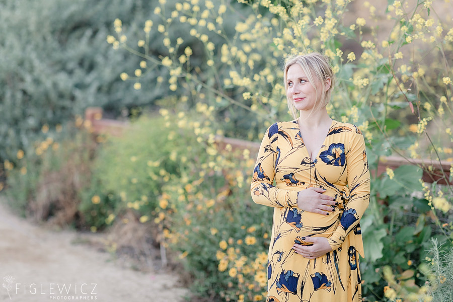 beautiful maternity portrait with mom in yellow dress