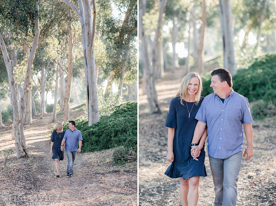 Palos Verdes Engagement couple walking hand in hand