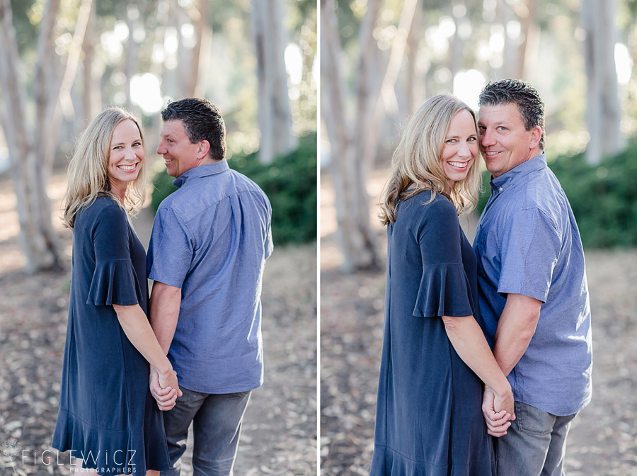 Palos Verdes Engagement couple standing cheek to cheek