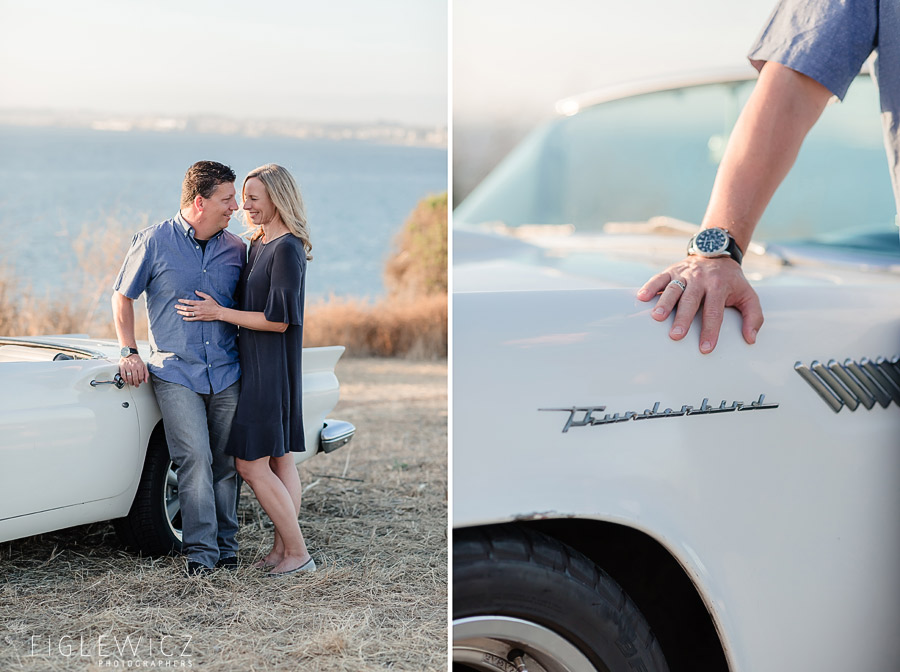 detail photos of Ford Thunderbird in Palos Verdes engagement