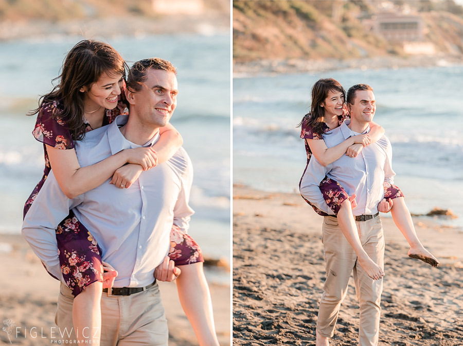man giving fiancee piggy back ride on palos verdes beach