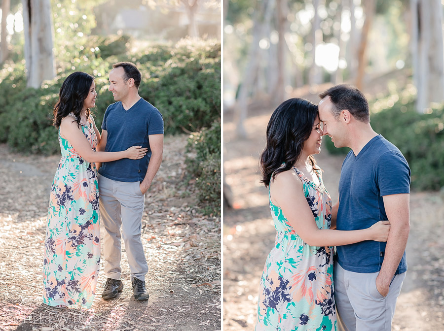 engaged couple embracing in palos verdes
