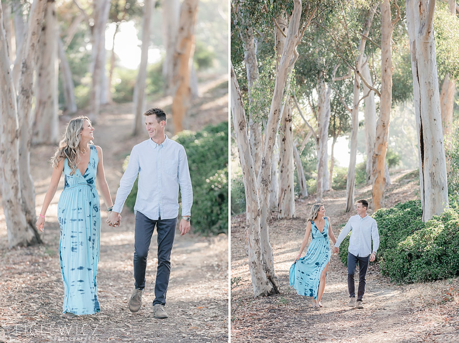 palos verdes engaged couple walking