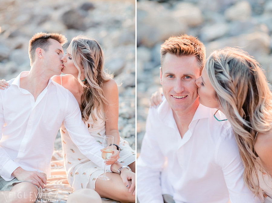 engaged couple kissing in palos verdes