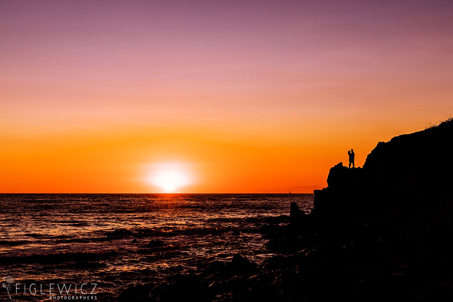 sunset engagement in palos verdes