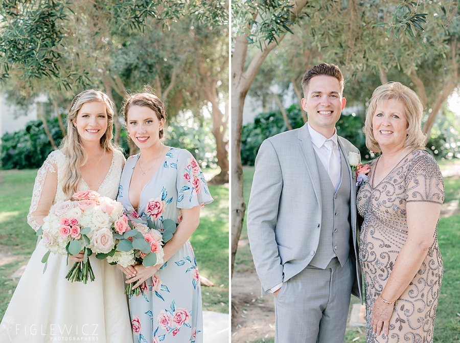 bride and groom with mothers