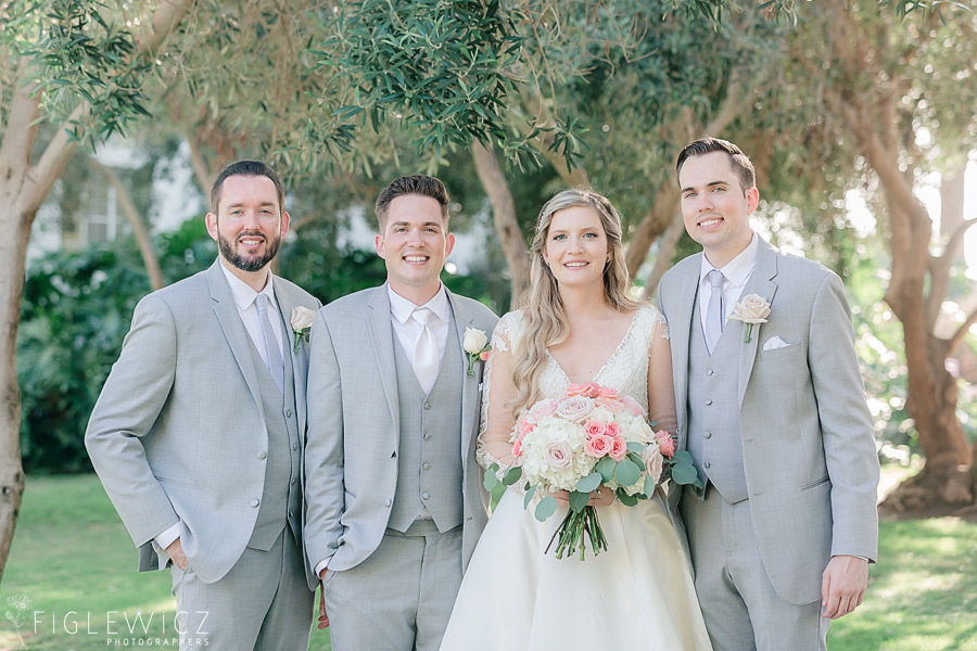 bride and groom with brothers