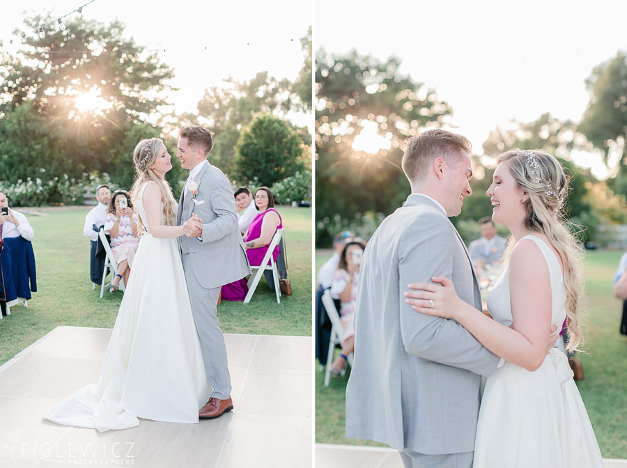 bride and groom first dance in garden wedding
