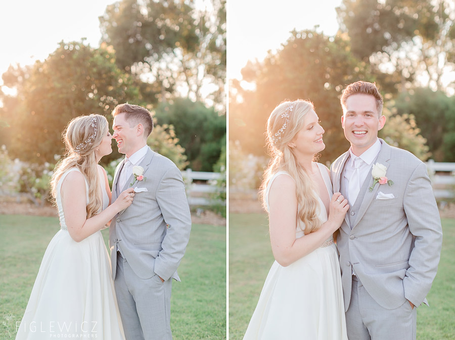 bride and groom smiling at one another in South Coast Botanic Gardens