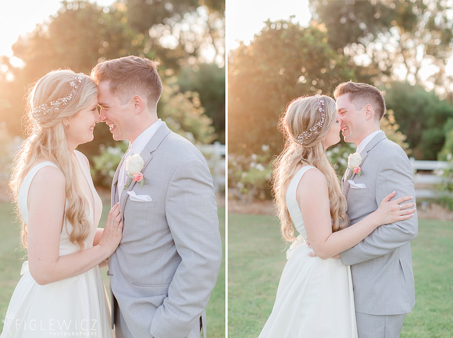 garden wedding golden hour kiss